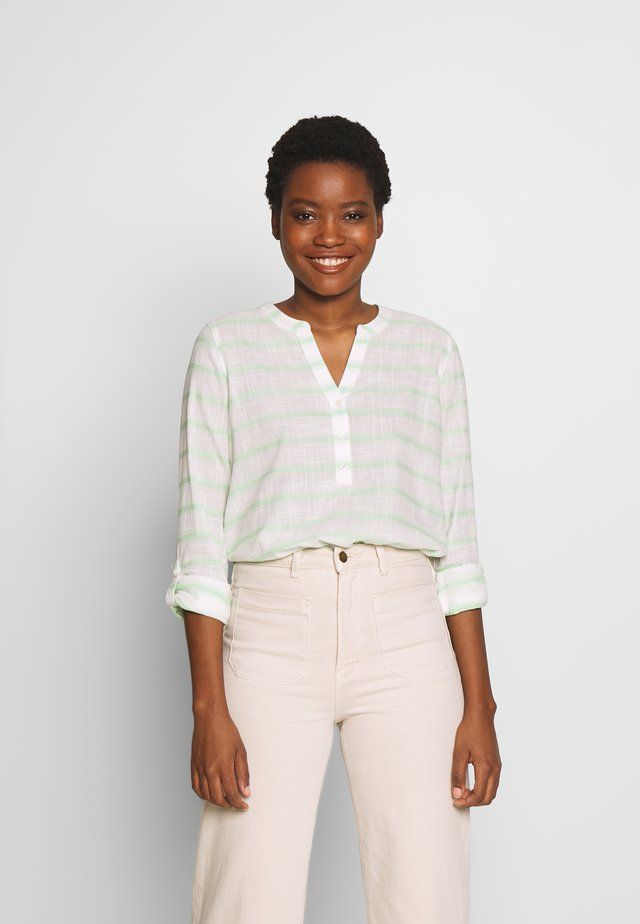 STRIPED HENLEY BLOUSE - Bluzka - white/green