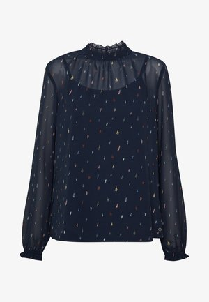 BLOUSE WITH RUFFLE NECK - Blouse - navy blue