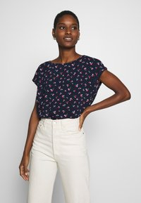TOM TAILOR DENIM - SPORTY ALL OVER PRINTED BLOUSE - Blouse - navy/flower print - 0