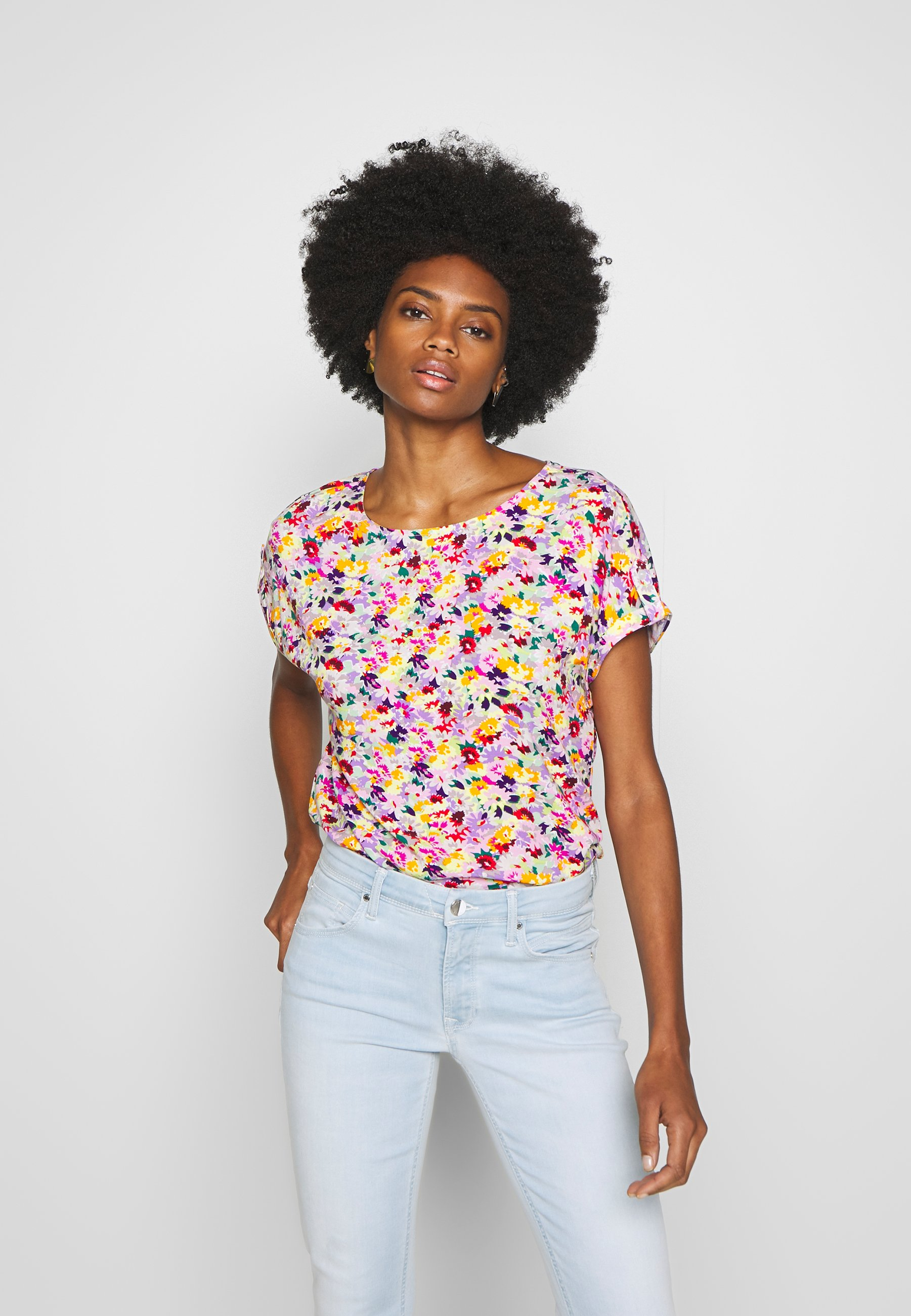 TOM TAILOR DENIM PRINT WITH TURN UP SLEEVES - Bluzka - multicolor