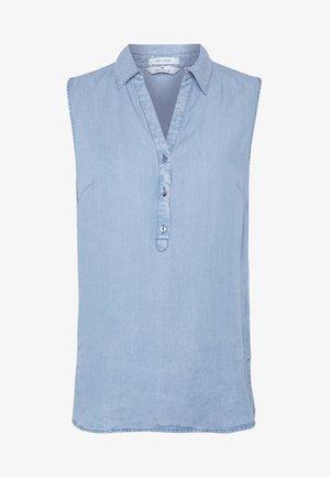 BALLOON SLEEVE V NECK BLOUSE - Camicetta - light blue chambray