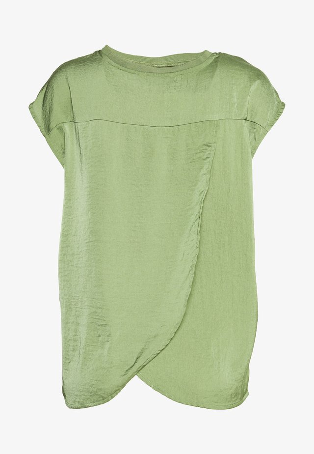 BLOUSE WITH NECK - Pusero - olive green