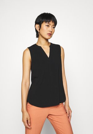 SLEEVELESS V NECK - Bluzka - deep black