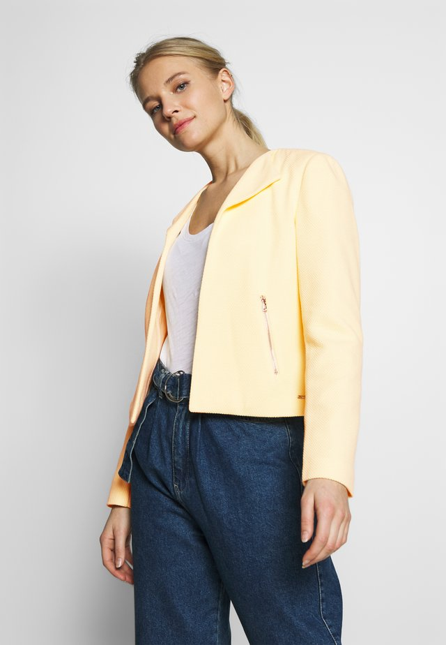 STRUCTURED SWEAT BIKER JACKET - Żakiet - pale yellow