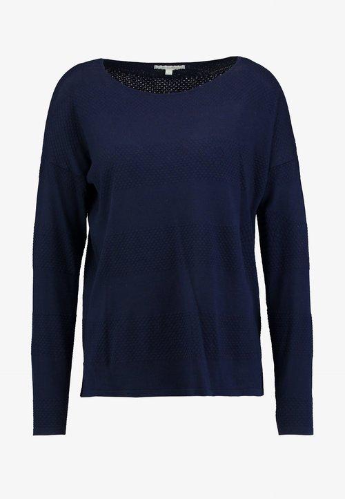 TOM TAILOR DENIM STRUCTURED - Sweter - real navy blue Odzież Damska WWTC-EV5 85% ZNIŻKI