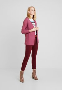 TOM TAILOR DENIM - CARDIGAN WITH STRUCTURE - Kofta - dry rose melange/purple - 1