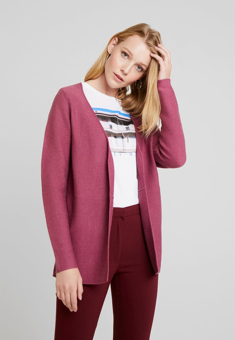 TOM TAILOR DENIM - CARDIGAN WITH STRUCTURE - Strickjacke - dry rose melange/purple