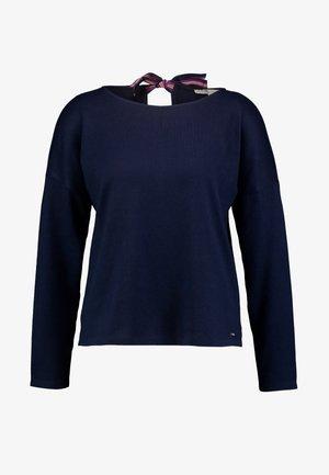 COZY TEE WITH CONTRAST BOW - Top sdlouhým rukávem - real navy blue