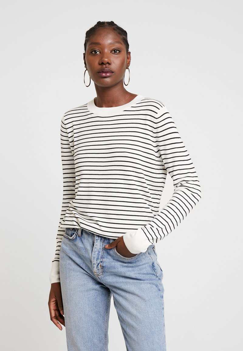 TOM TAILOR DENIM - EASY STRIPE - Sweter - white/black