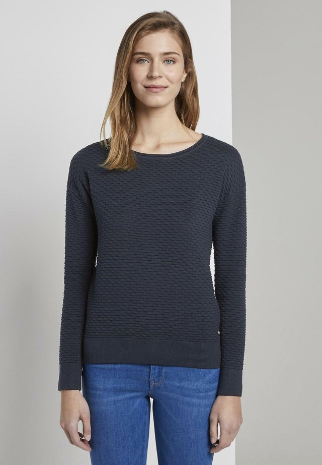WAFFLE STRUCTURED - Jersey de punto - real navy blue