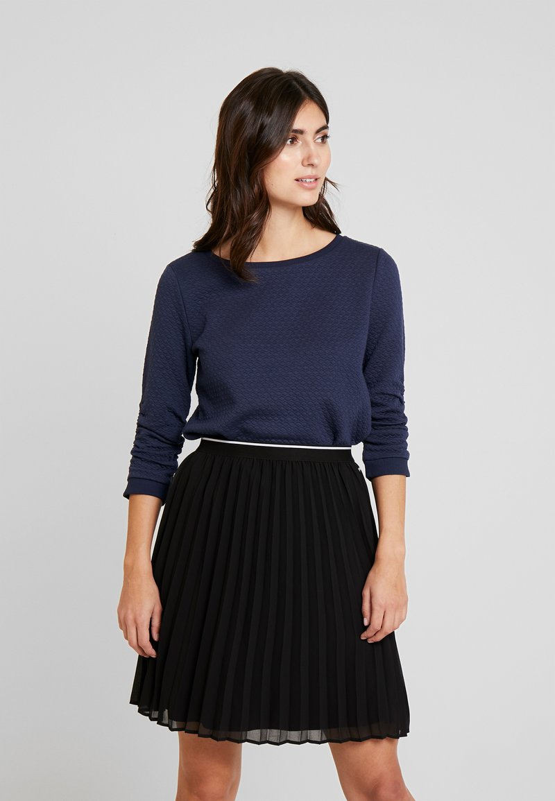 TOM TAILOR DENIM - STRUCTURED - Long sleeved top - real navy blue