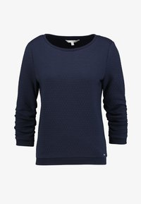 TOM TAILOR DENIM - STRUCTURED - Long sleeved top - real navy blue - 4