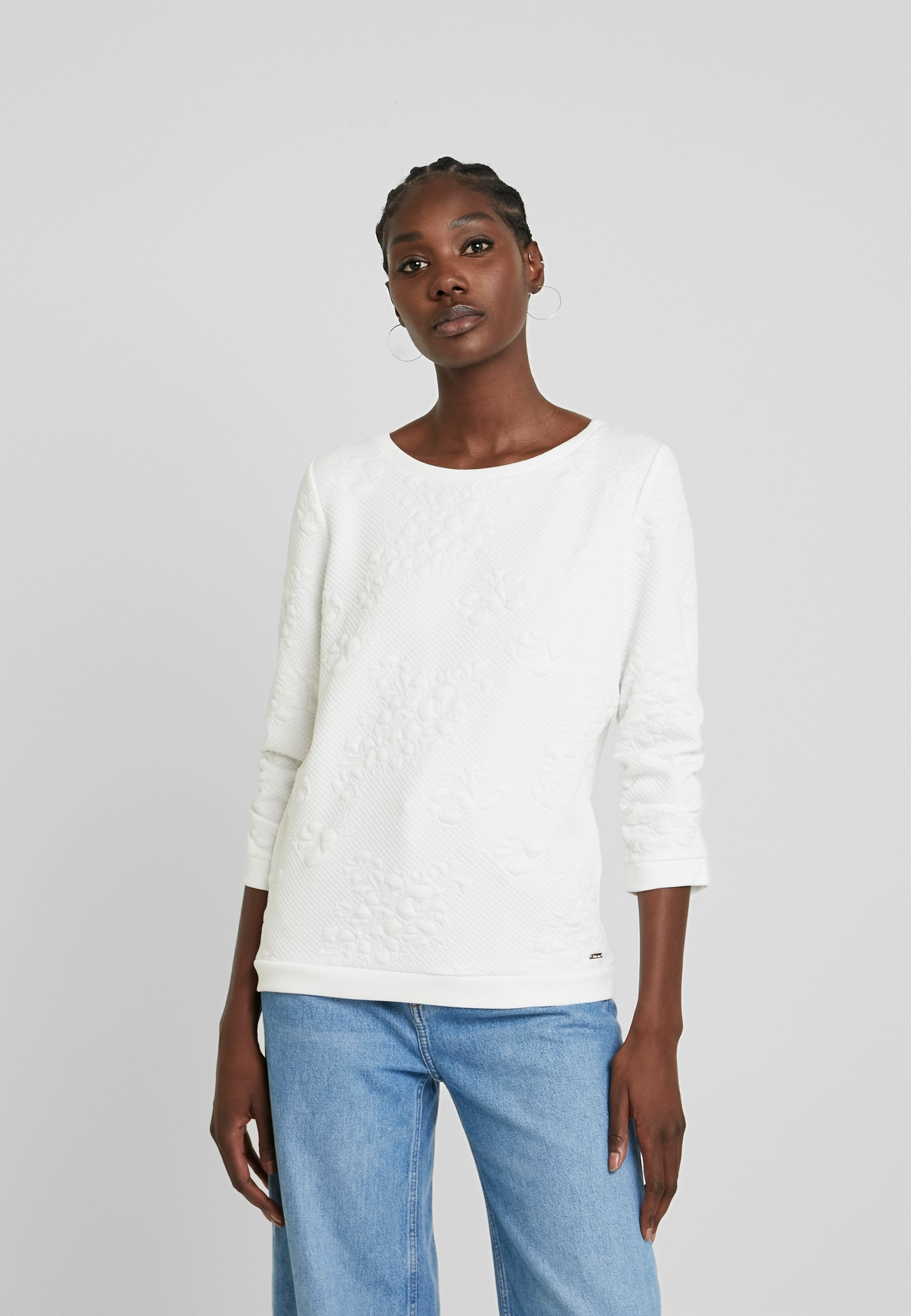 TOM TAILOR DENIM FLOWER - Sweatshirt - off white