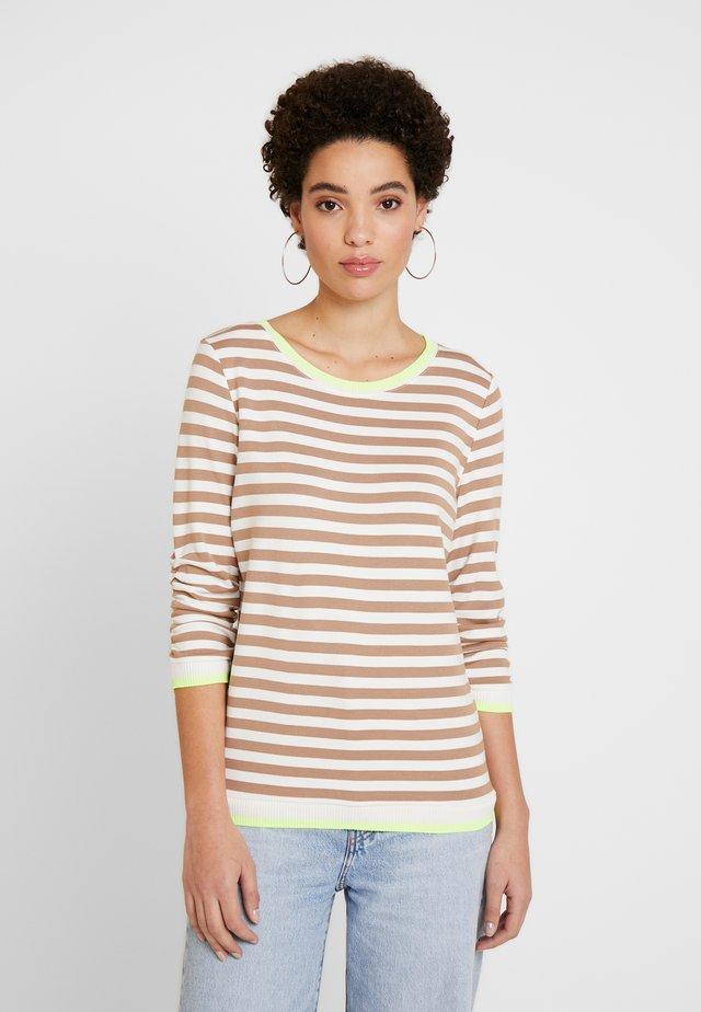 RUFFLE WITH TIPPING - Bluzka z długim rękawem - off white/camel/brown
