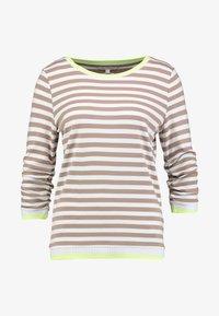 TOM TAILOR DENIM - RUFFLE WITH TIPPING - Bluzka z długim rękawem - off white/camel/brown - 3
