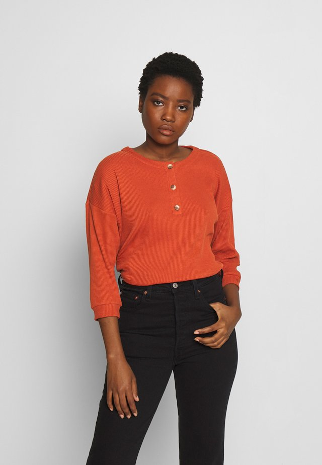 LONGSLEEVE BUTTONS - Top s dlouhým rukávem - fox orange
