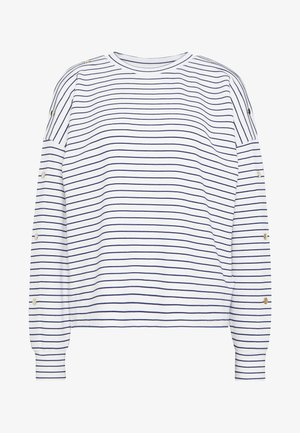 BUTTON PANELS - Long sleeved top - navy / offwhite