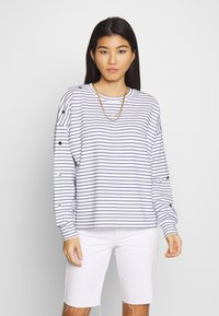 TOM TAILOR DENIM - BUTTON PANELS - Long sleeved top - navy / offwhite - 0