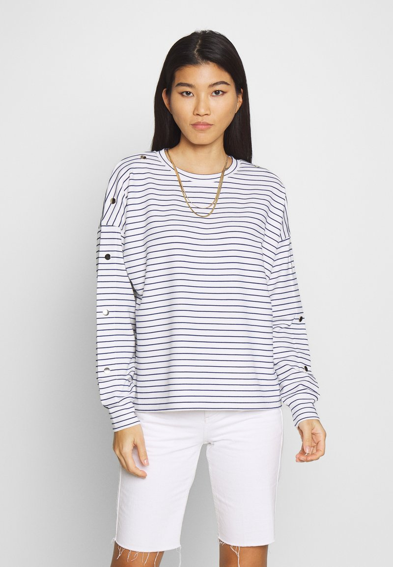 TOM TAILOR DENIM - BUTTON PANELS - Long sleeved top - navy / offwhite