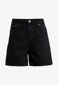 TOM TAILOR DENIM - A SHAPE HIGHWAIST - Shorts di jeans - dark stone/black denim - 3
