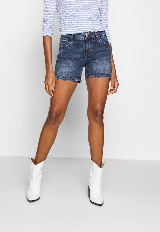 CAJSA - Denim shorts - used mid stone blue denim
