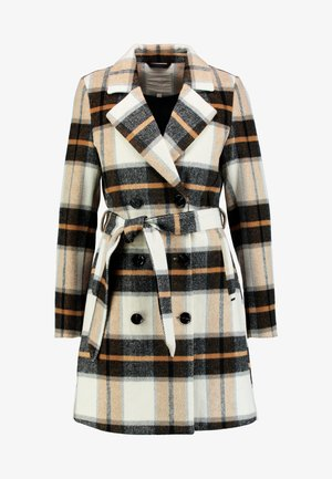 CHECK COAT - Classic coat - beige/camel/brown