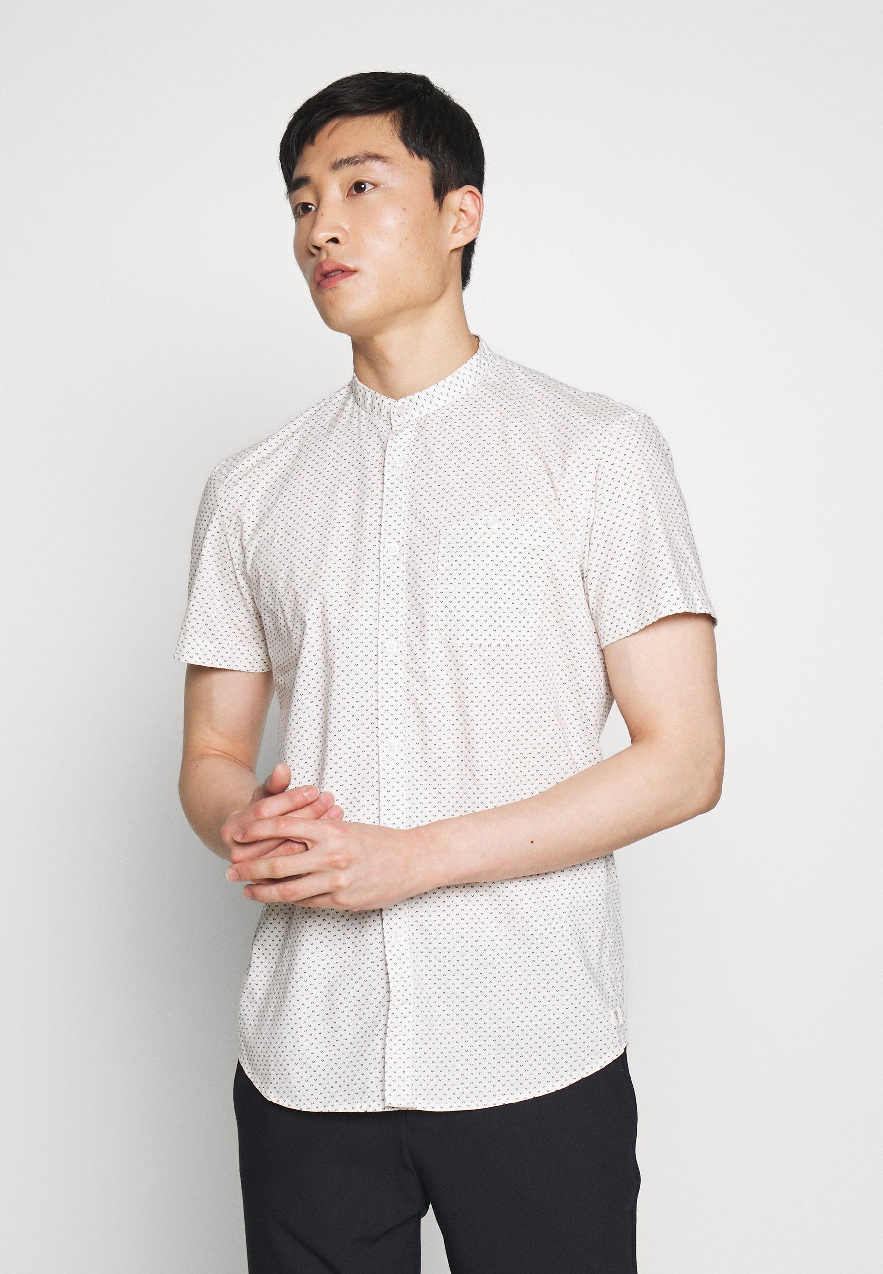 TOM TAILOR DENIM STAND UP COLLAR SHIRT - Koszula - light cream corn print/white