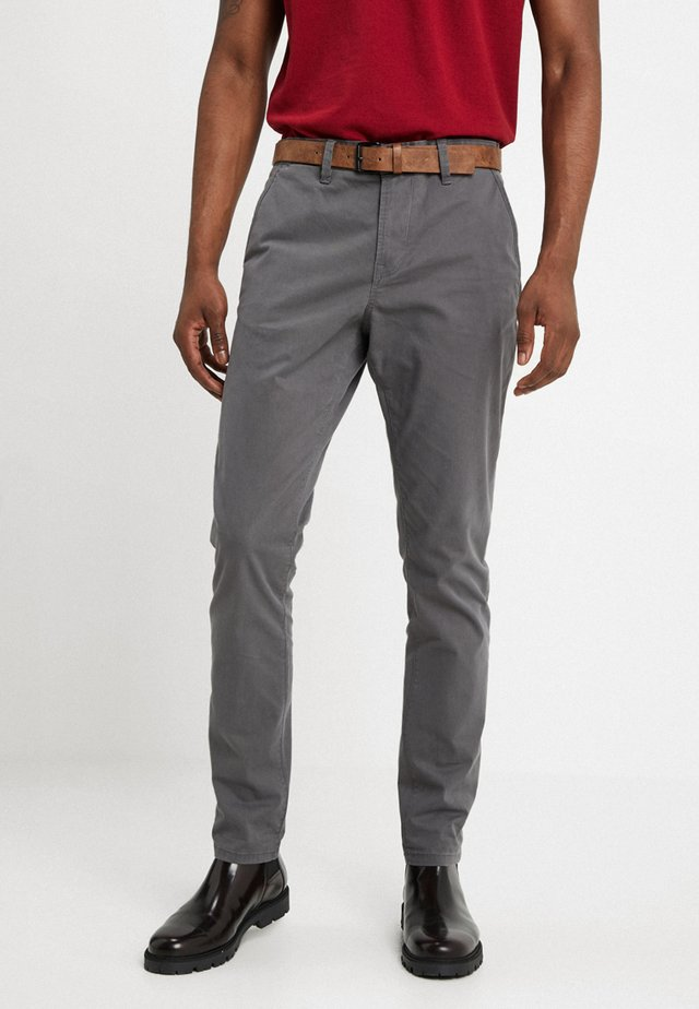 SLIM CHINO WITH BELT - Chinos - grey