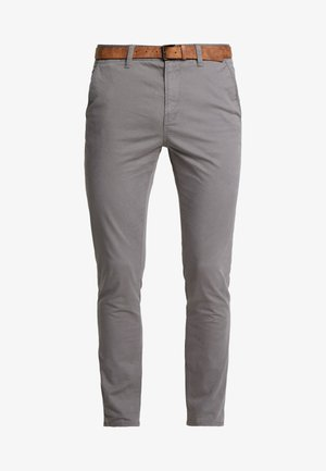 SLIM CHINO WITH BELT - Chino kalhoty - castlerock grey