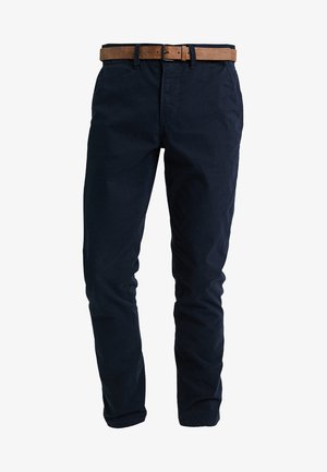 SLIM CHINO WITH BELT - Chino kalhoty - sky captain blue