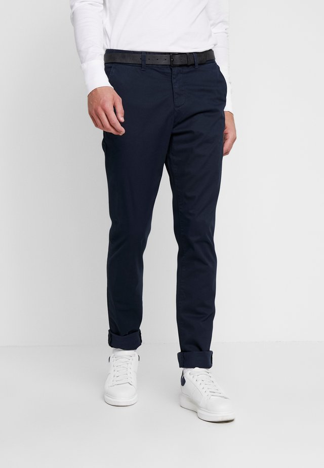 SLIM PRINTED - Chinos - navy blue