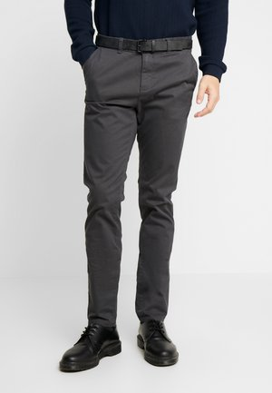 SLIM PRINTED - Chino kalhoty - black small stroke /grey