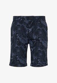 navy tropical leaves print
