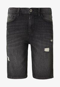 TOM TAILOR DENIM - Shorts di jeans - used dark stone black denim - 6