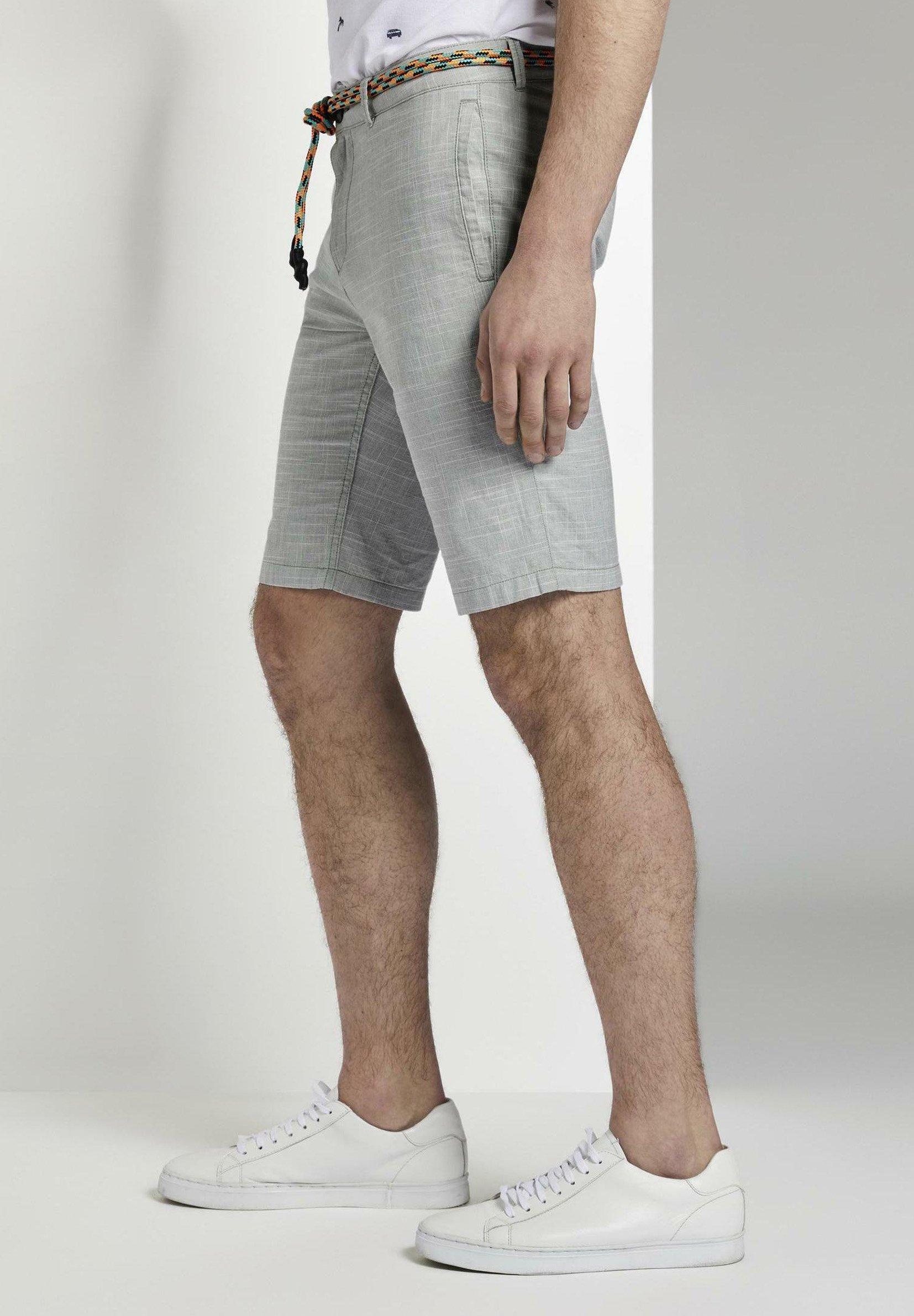Tom Tailor Denim Mit Kordelgürtel - Short Green Slubby Summer Yarn Dye g4kESdb