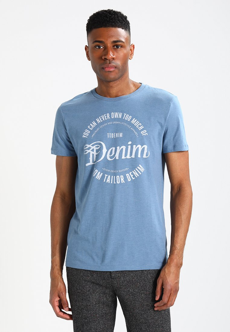 TOM TAILOR DENIM - TEE - T-Shirt print - faded uniform blue