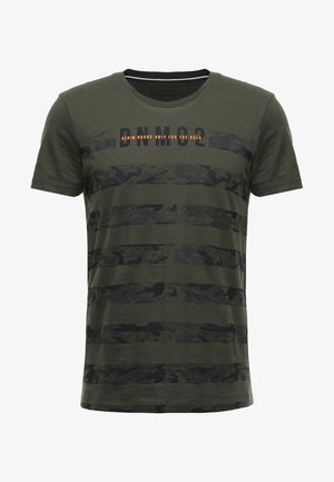 STRIPED PANELPRINT - T-shirt print - woodland green