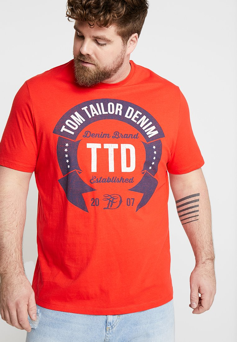 TOM TAILOR DENIM - Print T-shirt - scarlet red