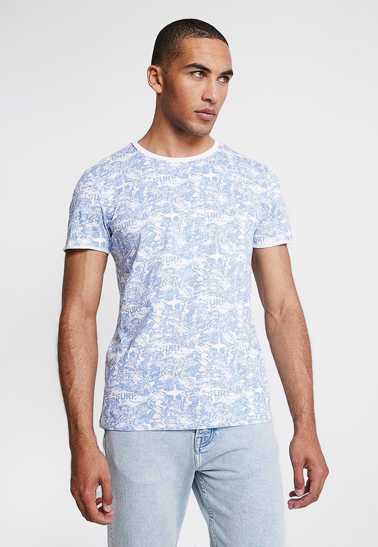 TOM TAILOR DENIM - CREWNECK - Print T-shirt - white/blue