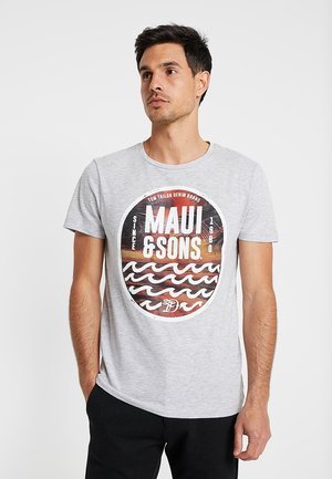 T-shirt med print - light stone grey melange