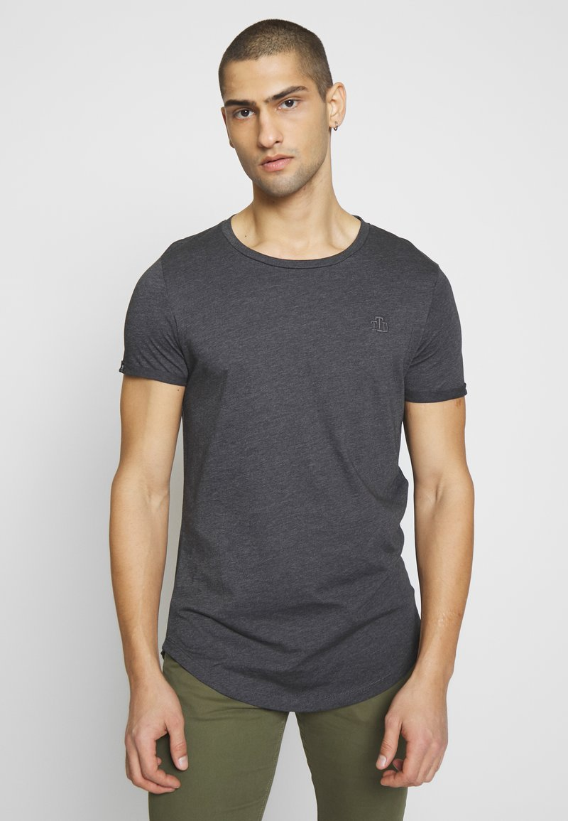 TOM TAILOR DENIM - LONG BASIC WITH LOGO - T-shirt basic - dark grey