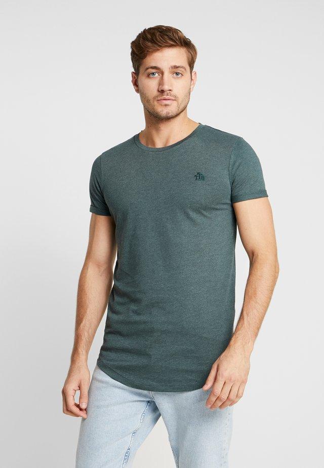 LONG BASIC WITH LOGO - Basic T-shirt - dark gable green melange