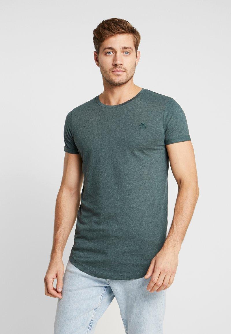 TOM TAILOR DENIM - LONG BASIC WITH LOGO - Basic T-shirt - dark gable green melange