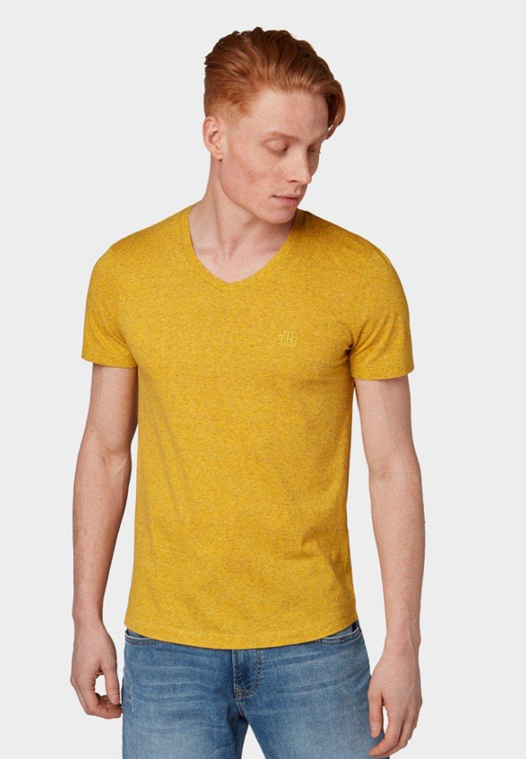 TOM TAILOR DENIM - Basic T-shirt - vivid yellow melange