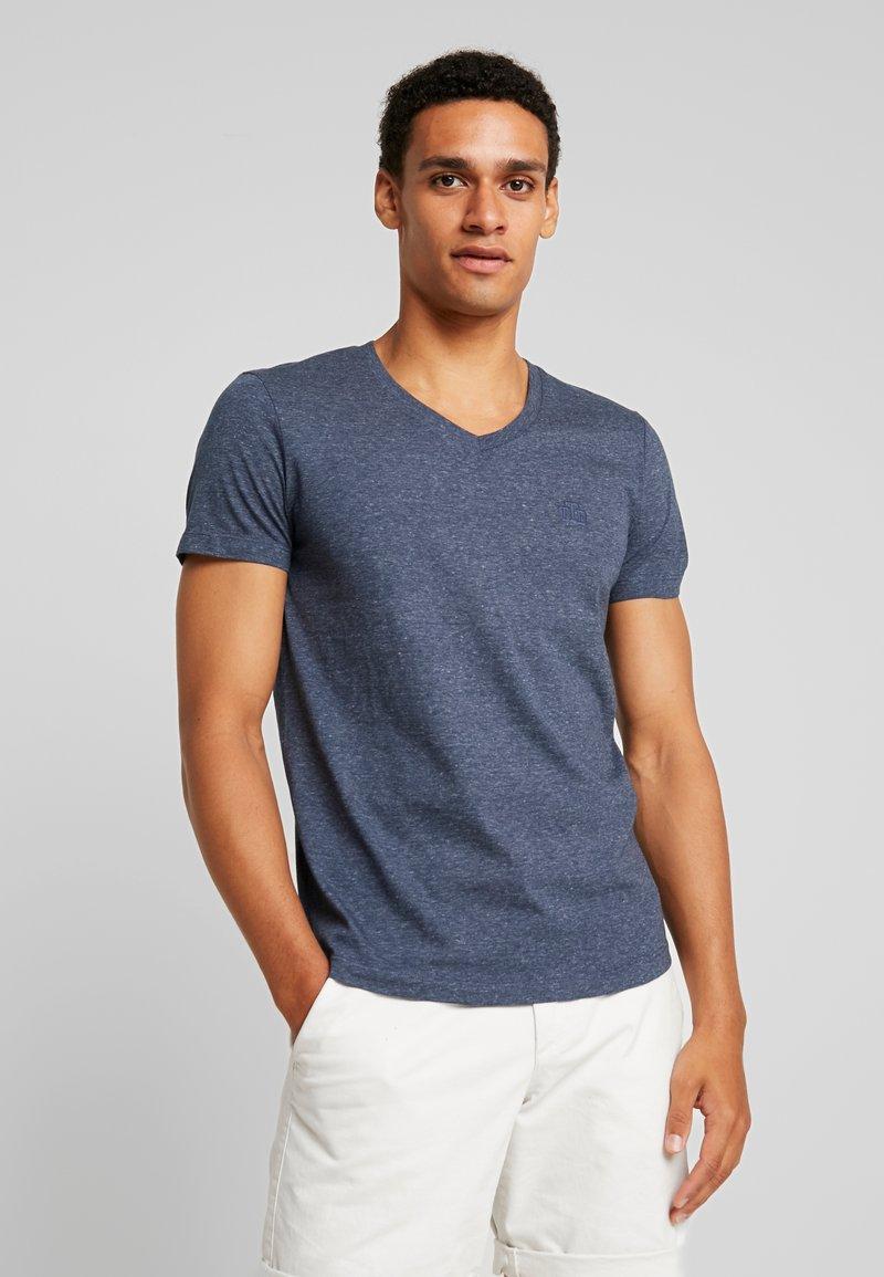 TOM TAILOR DENIM - STRUCTURED - T-Shirt basic - agate stone blue melange