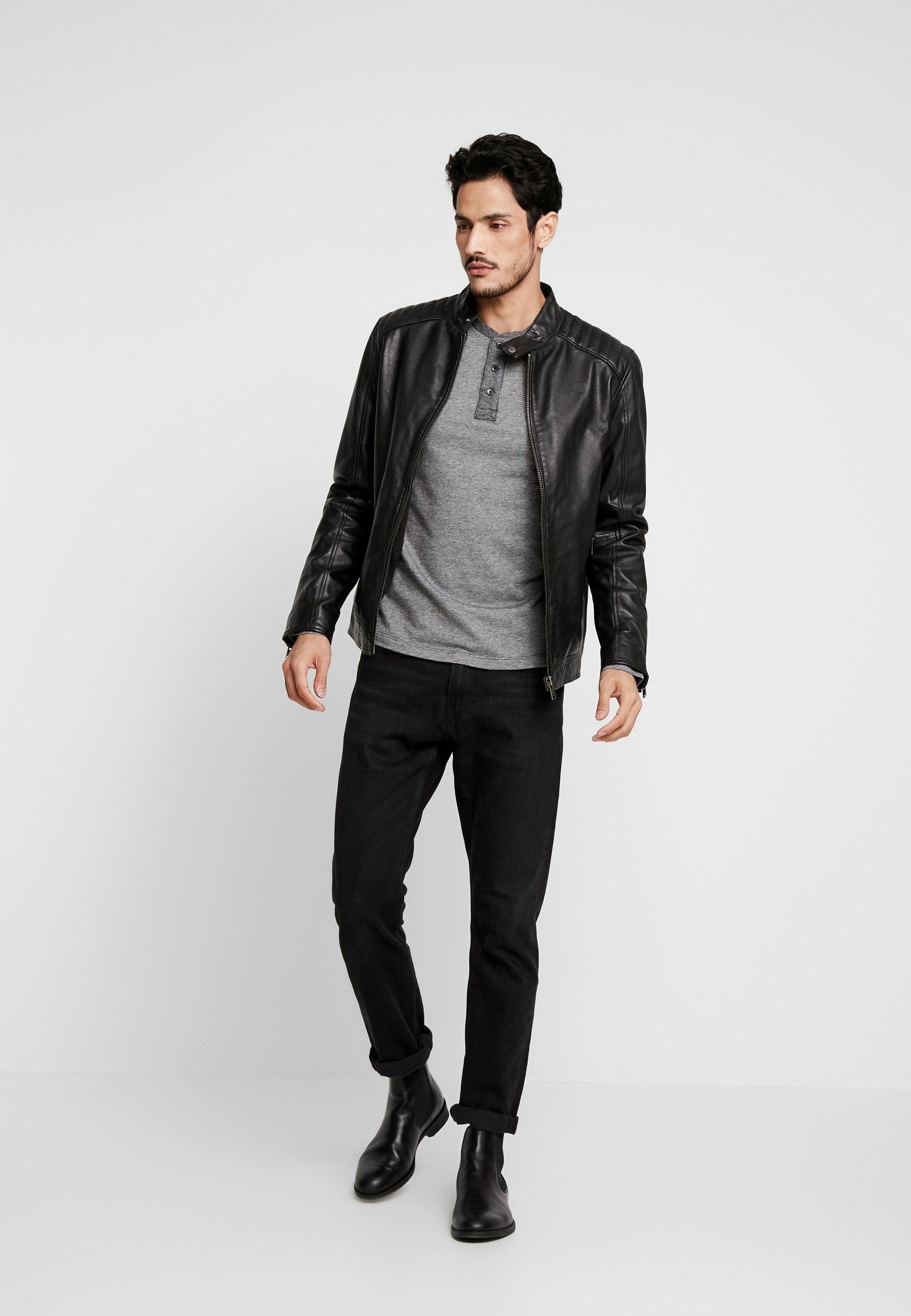 Tom Tailor Denim Structured Fabric - T-shirt À Manches Longues Black/grey