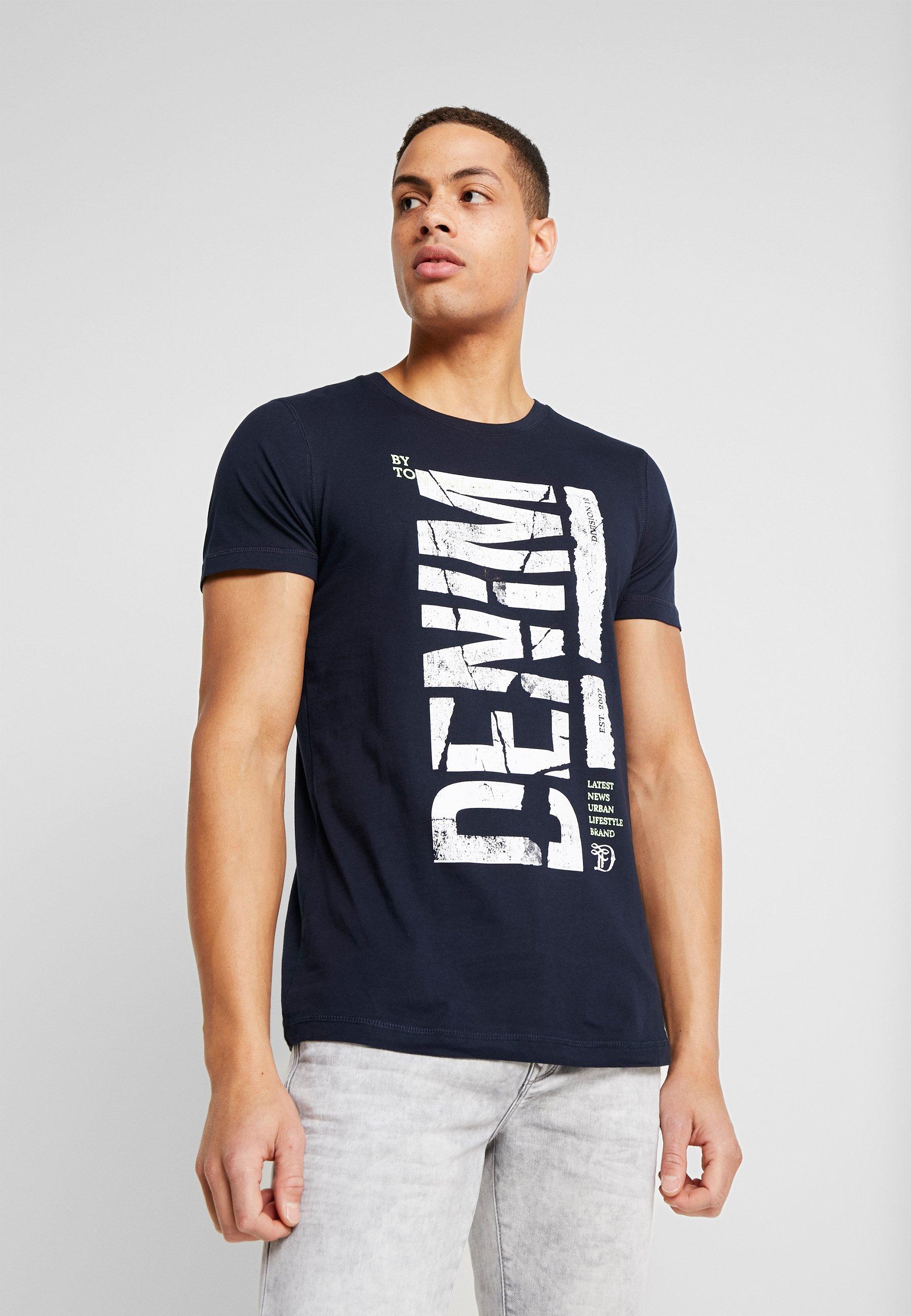 TOM TAILOR DENIM STRUCTURED FOTOPRINT - T-shirts med print - sky captain blue