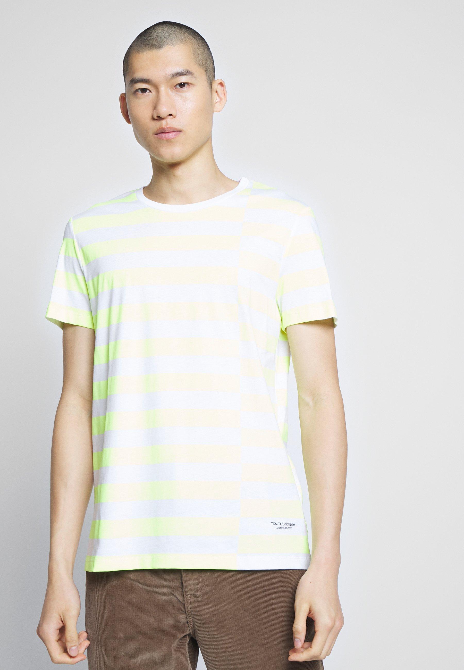 TOM TAILOR DENIM STRIPED - T-shirt z nadrukiem - neon green