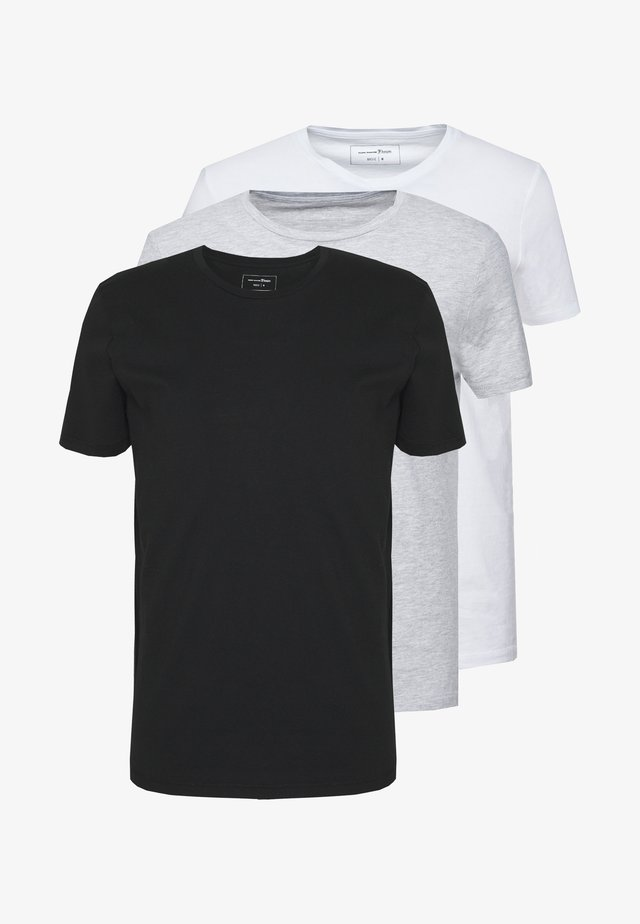 3 PACK - T-shirt basique - light stone/grey melange