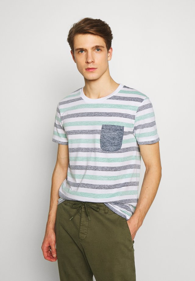 TEE WITH INSIDE PRINTED STRIPE - Print T-shirt - blue